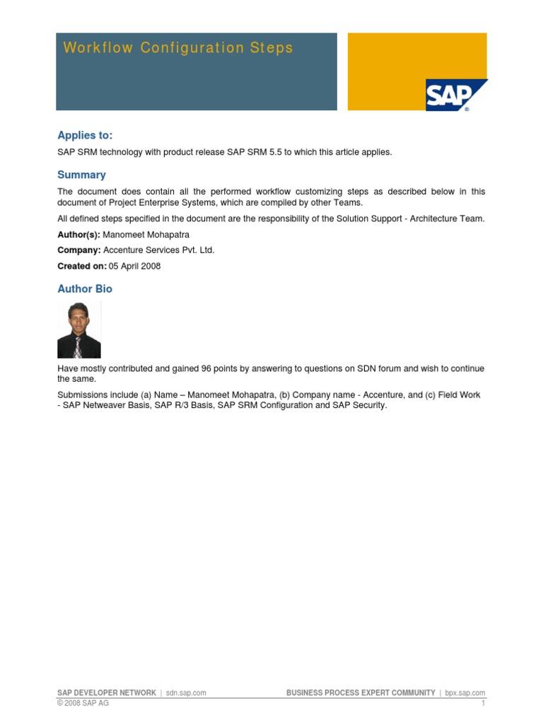 Workflow Configuration Steps in SAP Supplier Relationship Management   Ibm  System I   Sap Se
