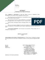 Affidavit of Death
