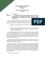 s.c. Adminstrative Circular No. 13-2001