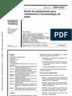 NBR 8400 - 1984 - Calculo de Equipamento Para Levantamento e Movimentaçao de Cargas