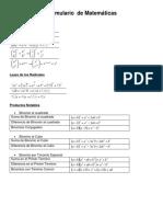 Formulario de Matemáticas
