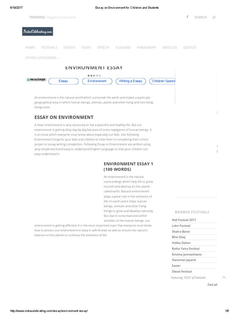 environment essay 100 words