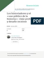PASAMAR AZURRIA Gonzalo Los Historiadores y El Uso Publico de La Historia (1)