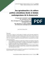 Una aproximación a la cultura política colombiana desde el debate contemporáneo de la democracia