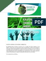 Ejemplo de Politica Ambiental de Una Empresa