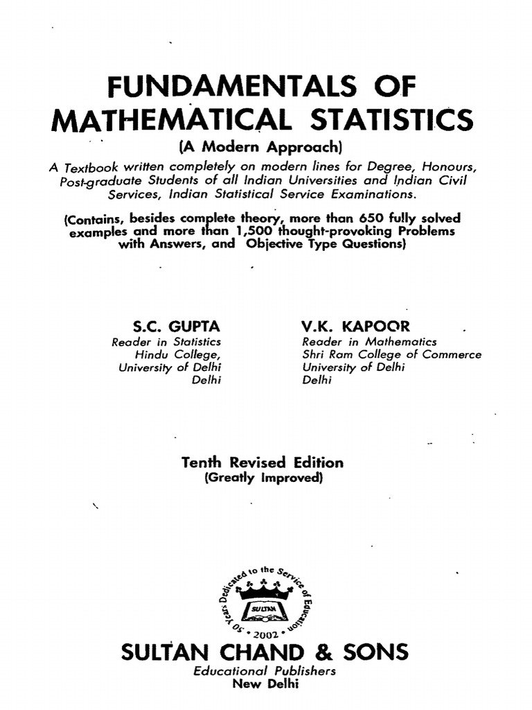 Fundamental of mathematical statistics s c gupta v k kapoorpdf fundamental of mathematical statistics s c gupta v k kapoorpdf probability theory statistical hypothesis testing biocorpaavc Gallery
