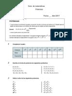Guía  de matemáticas POTENCIAS 7 °
