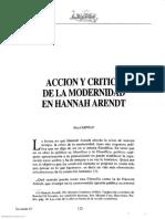 Accion y Critica de La Modernidad en Hannah Arendt