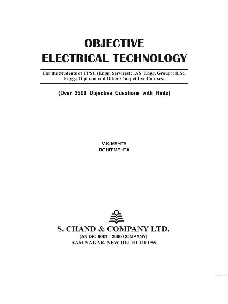 Electrical Engineering Objective Book By Vk Mehta