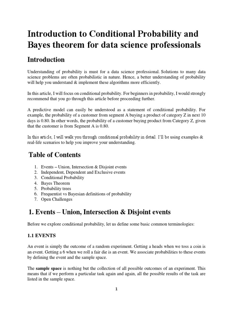 Introduction to Conditional Probability and Bayes Theorem