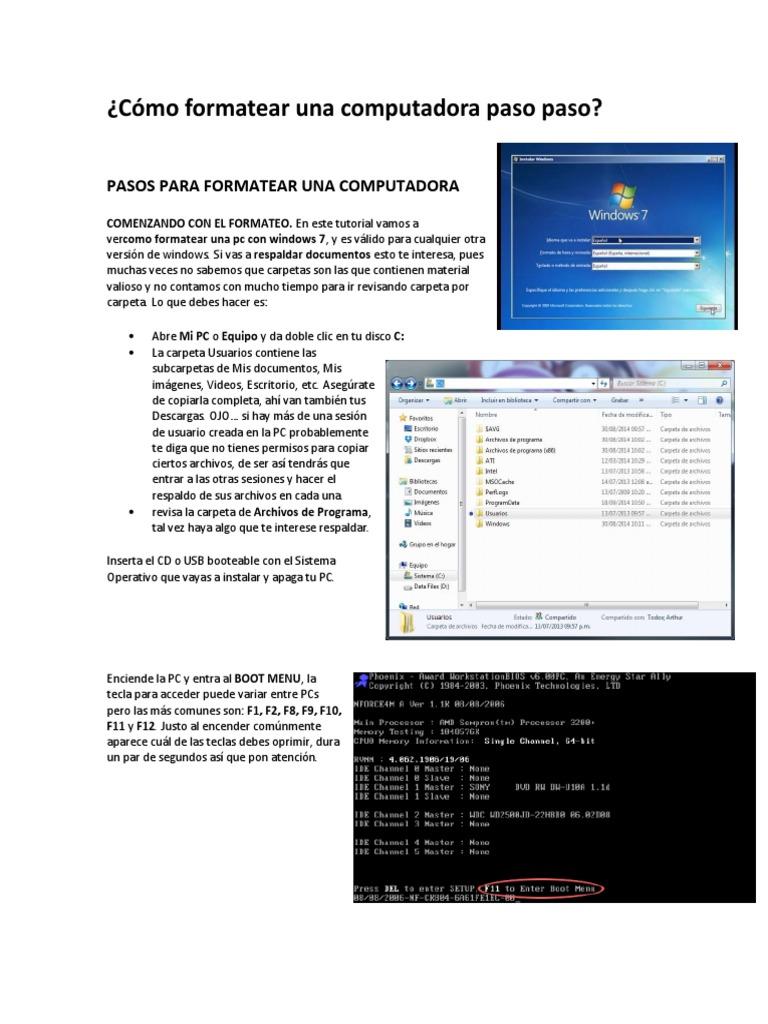 Cómo Formatear Una Computadora Paso Paso