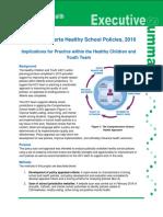 Alberta Health Services report on healthy school policies