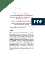 2016 Prevalencia de La Disfunción Temporomandibular en Trabajadores de La Industria. Asociación Con El Estrés y El Trastorno Del Sueño 2016