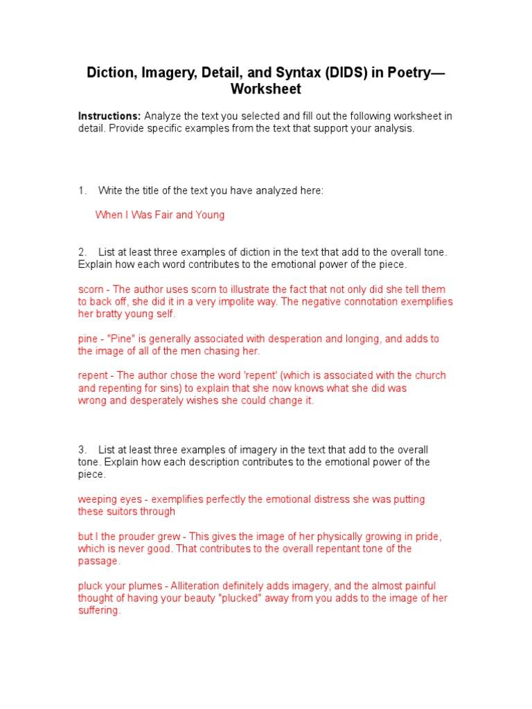 Dids worksheet – Analyzing Poetry Worksheet