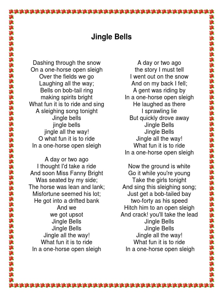 Letra Jingle Bells Vocal Music American Music