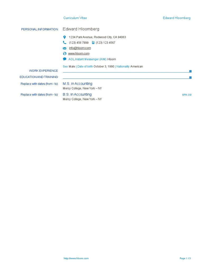 278 Europass CV Template | Copyright | Accounting