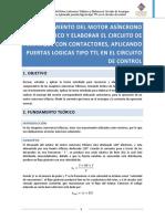 Reconocimiento Del Motor Asincrono Trifasico y Elaborar El Circuito de Arranque Con Contactores, Aplicando Puertas Logicas Tipo TTL en El Cricuito de Control
