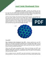 Obat Tradisional Untuk Membunuh Virus HPV