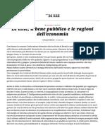 Le Élite, Il Bene Pubblico e Le Ragioni Dell'Economia - Il Sole 24 ORE