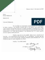 Carta de Franco Macri a Ramón Baldassini sobre la concesión del Correo