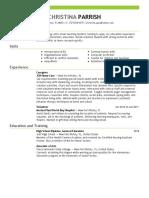 christina parrish resume 1