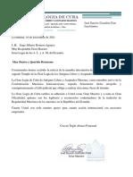 2.- Carta de Apoyo de Cuba