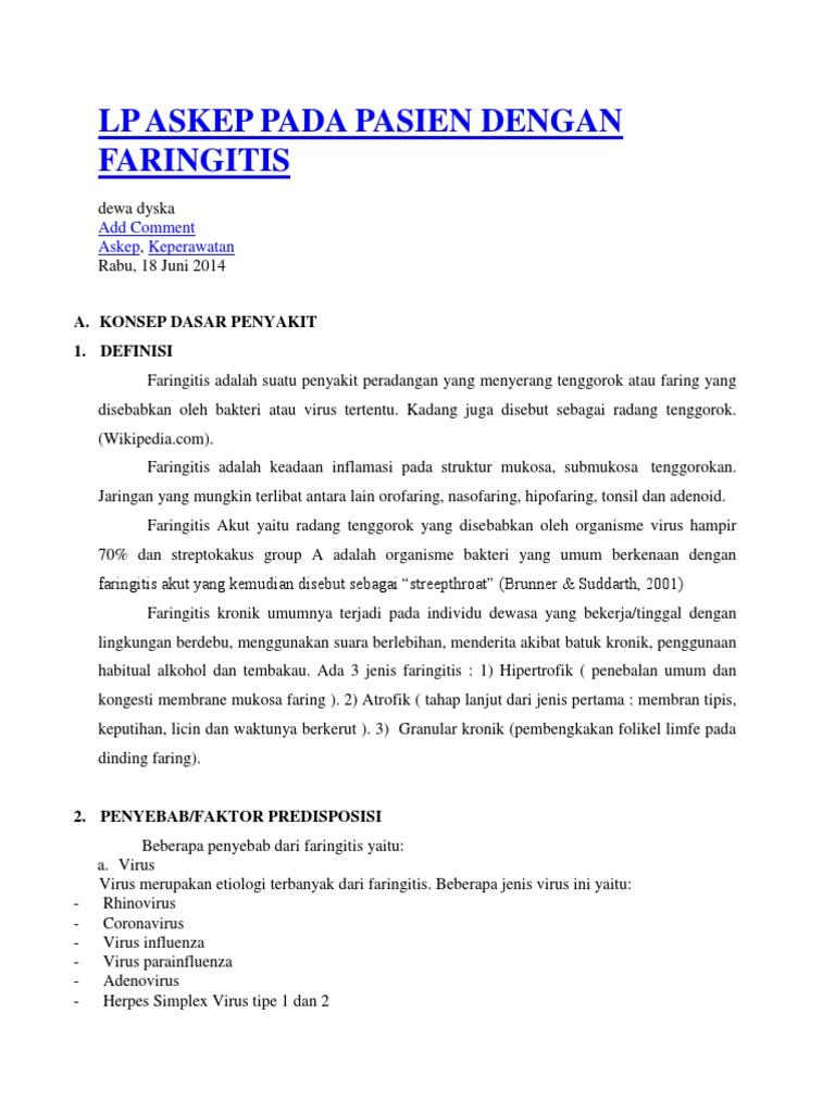 Lp Askep Pada Pasien Dengan Faringitis