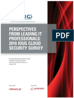 Perspectives From Leading It Professionals 2016 Ioug Cloud Security Survey
