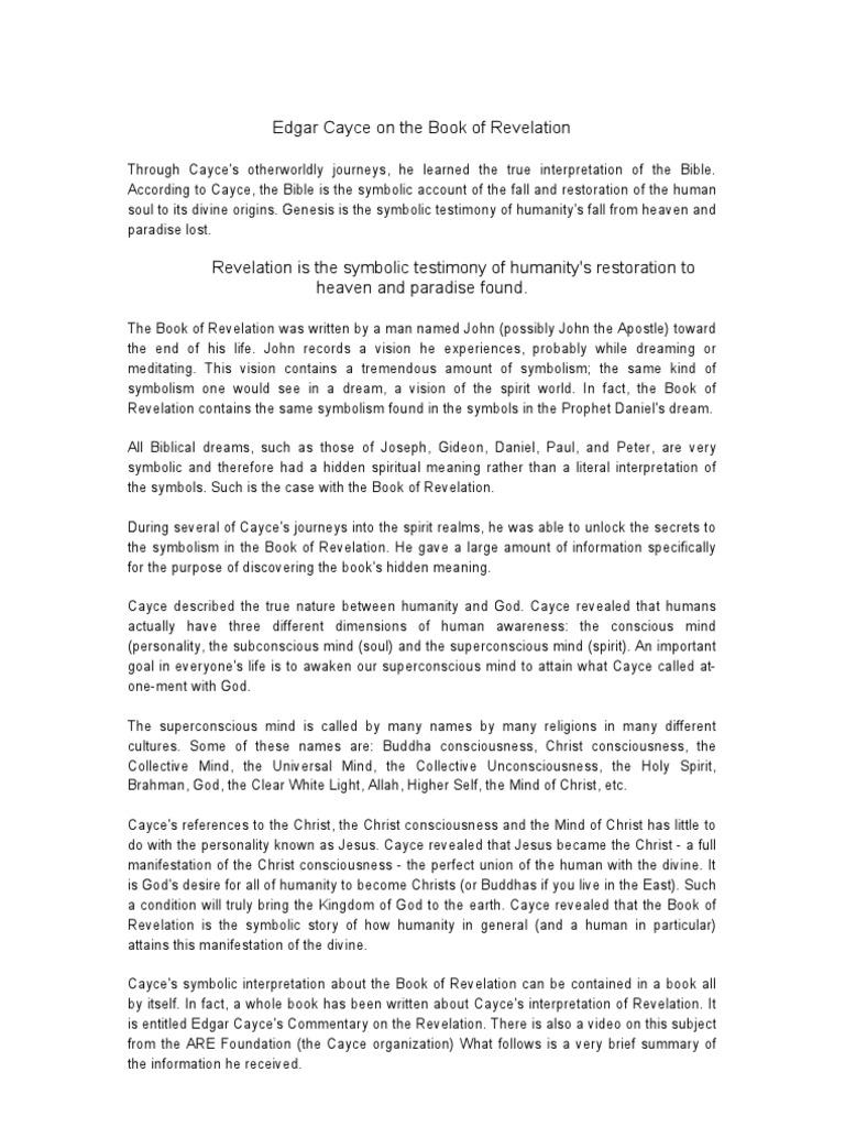 Edgar Cayce On The Book Of Revelation Enoch Ancestor Of Noah Jesus