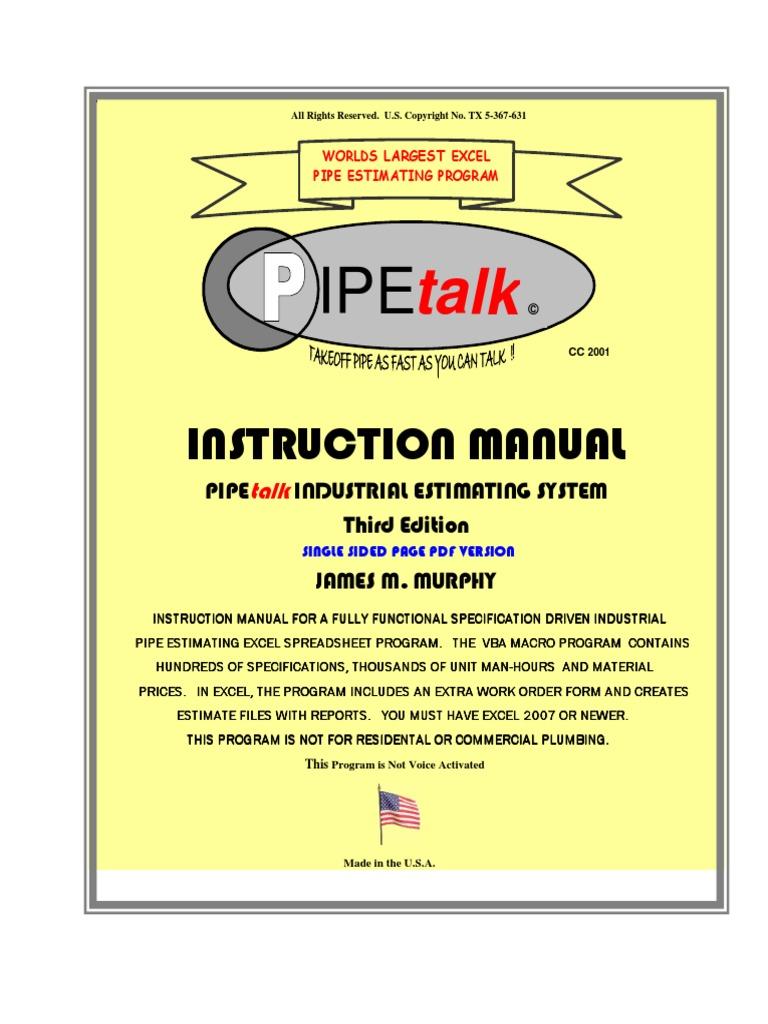 Pipe Talk Instruction Manual Rev 1 Single Sided Microsoft Excel