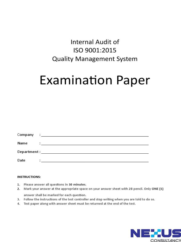 ISO 9001-2015 IA Exam doc | Quality Management System | Audit
