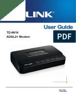 TP-Link TD-8616 V8 User Guide ADSL2 Modem