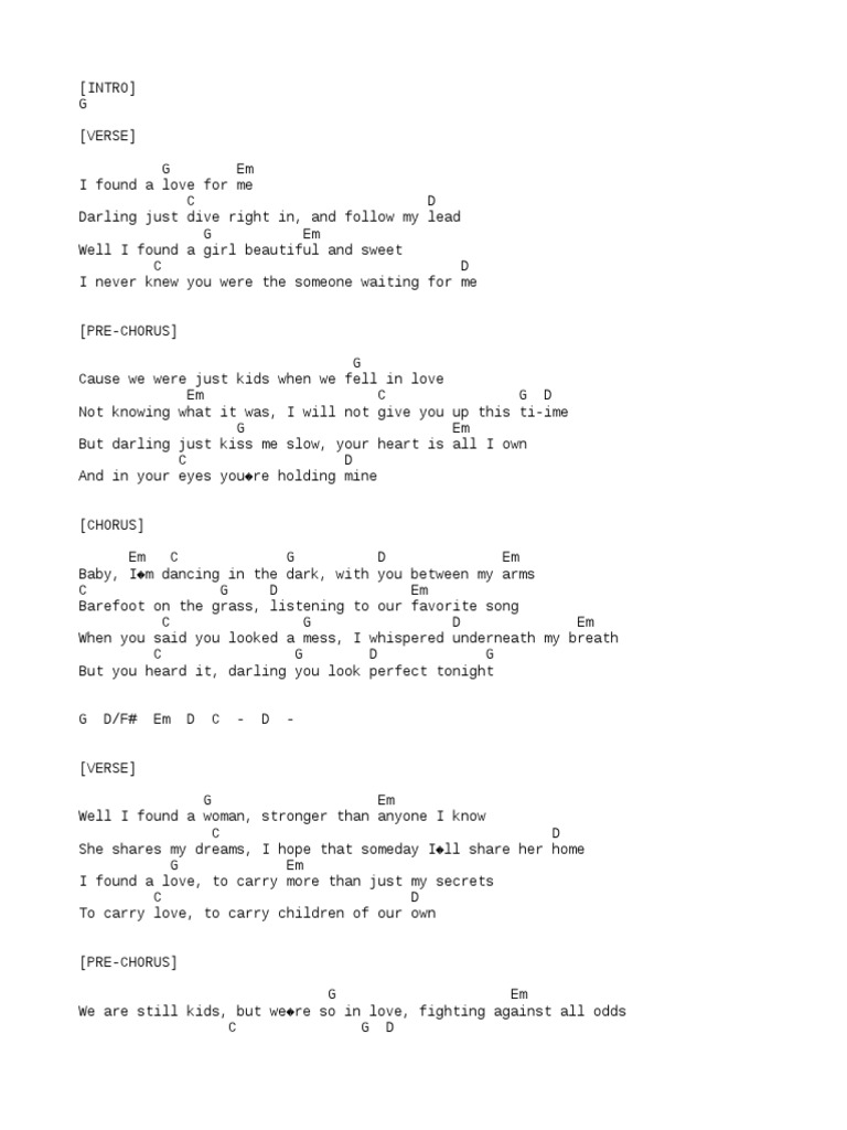 Perfect Ed Sheeran   PDF   Song Structure   Pop Music