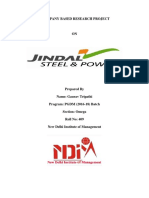Project Report On Jindal Steel & Power Ltd.