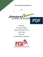 Project Report On Jindal Steel & Power Ltd.