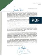 Carta del ministro Zoido al conseller Jané