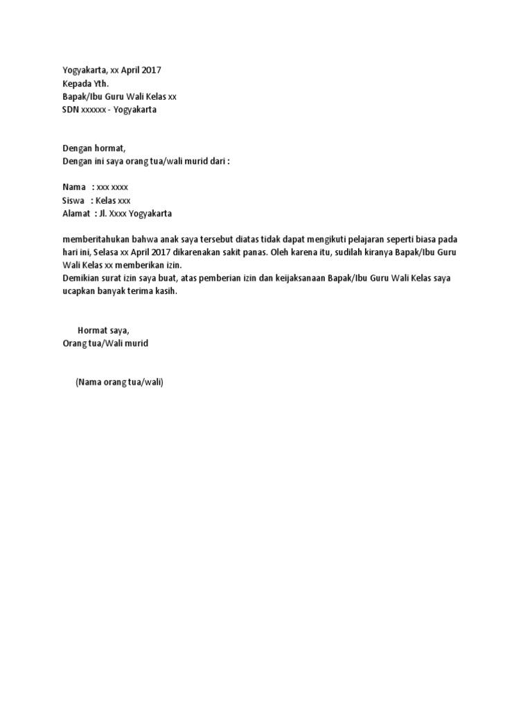 Surat Ijin Sakit Anak Sd