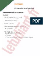 Bac Es 2017 Maths Specialite Corrige