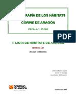 Lista de Habitats CORINE de Aragón