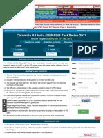 GS Mains Test Series 2017