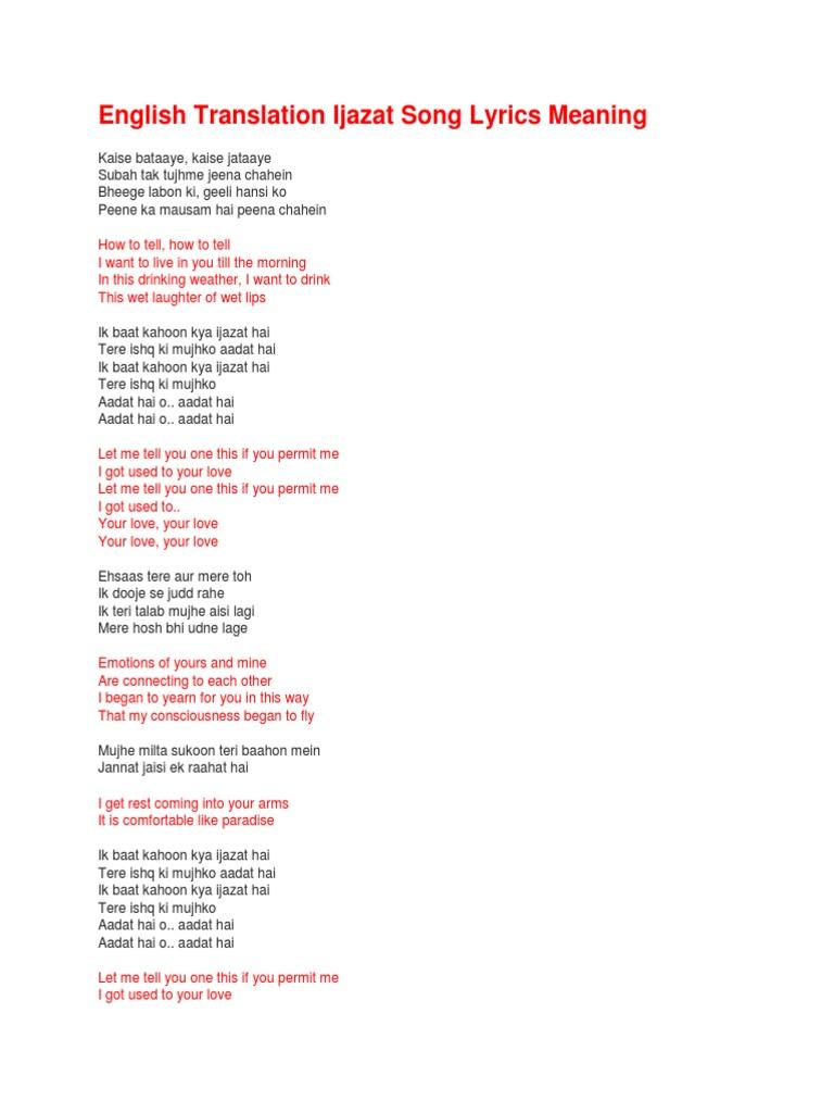 English Translation Ijazat Song Lyrics Meaning