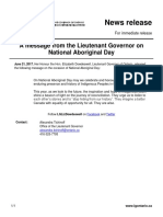 21 - Lieutenant Governor's Message on National Aboriginal Day
