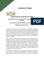 Comunicado de la diócesis de Tarma ante la situación ambiental en el distrito de Simón Bolívar