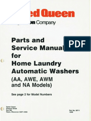 speed queen -service manual (33711) | washing machine | valve  scribd
