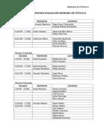 Calendario Segunda Evaluación Memoria II