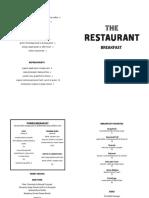 The Restaurant Breakfast menu