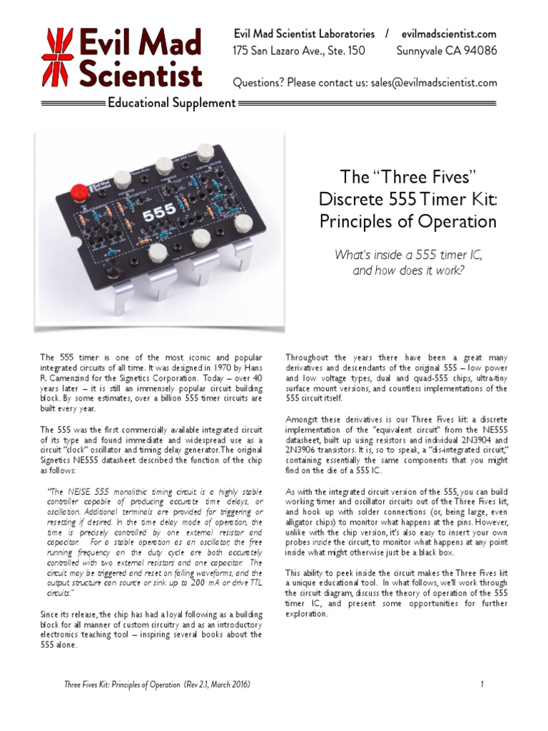 555 Timer Principles Revb3pdf Bipolar Junction Transistor Amplifier Function Circuits Lm555 The Following Are