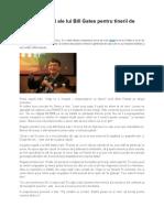 Cele 11 Porunci Ale Lui Bill Gates Pentru Tinerii de Succes