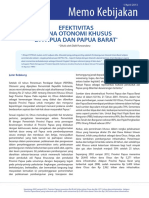 Memo Kebijakan April 2013 Efektivitas Dana Otonomi Khusus Di Papua Dan Papua Barat