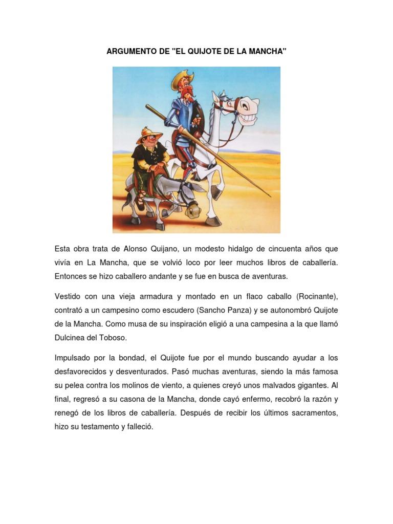 Argumento de la obra El Quijote de La Mancha   Don Quijote